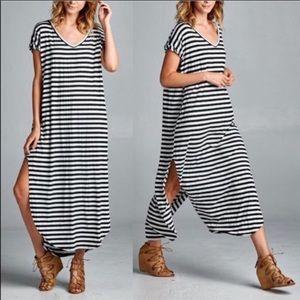 28ff85056d6 Dresses   Skirts - Oversized loose fit stripes slit maxi dress